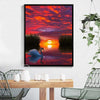 Image of DIY Paint by Numbers Canvas Painting Kit for Kids & Adults - Red Sunset Swan