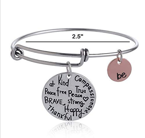 "Expandable Inspirational Jewelry Women Charm Stackable Bracelet, ""Be Thankful, Brave, Happy, Kind, True, Compassionate, Strong"","