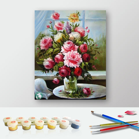 Paint by Numbers Kit for Adults by Alto Crafto - Flowers Painting