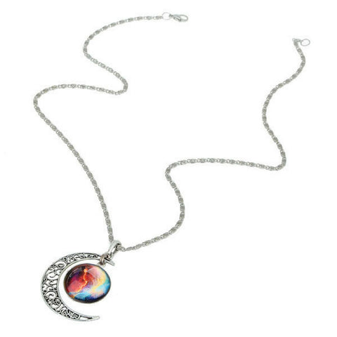 Galaxy & Crescent Cosmic Moon Pendant Necklace - Colorful Glass - 17.5''
