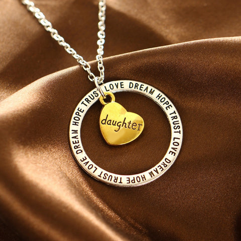 Daughter Pendant Necklace - Dream Hope Love Trust - Best Jewelry Gift for Women