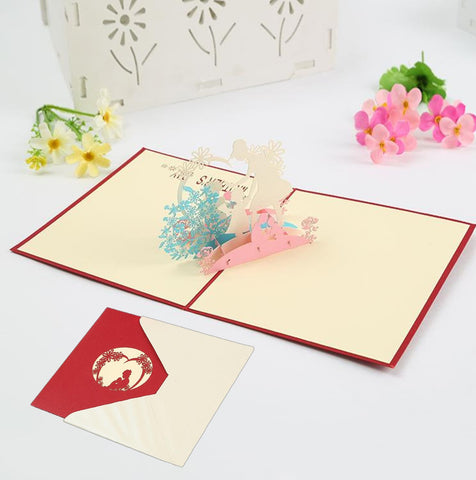 3D Mothers Day Pop Up Card and Envelope - Mother Daughter Son