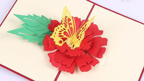 3D Floral Pop Up Card and Envelope - Happy b-day Butterfly Red flower Greeting Card