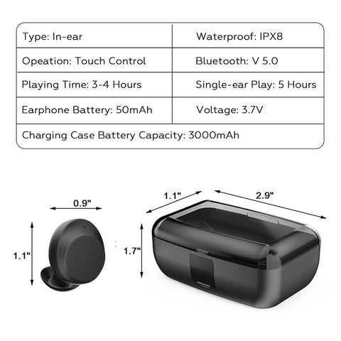 Bluetooth 5.0 Wireless Earbuds with Wireless Charging Case IPX8 Waterproof - Cordless in-Ear Built in Mic Headset Hands-Free Call - Black