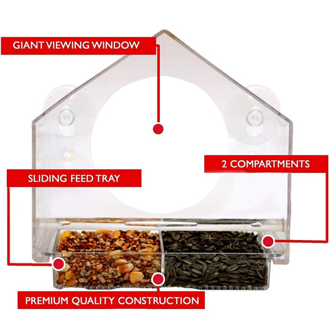 Window Bird House Feeder - Sliding Seed Tray Holder Birdhouse Shape - For Wild Birds - 4 Extra Suction Cups