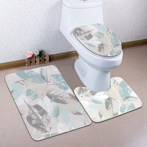 Bathroom Rug Set - 3-Piece Set - Mint Gray Leaves