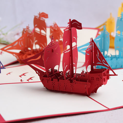 3D Boat Pop Up Card and Envelope - Sailing Boat Red