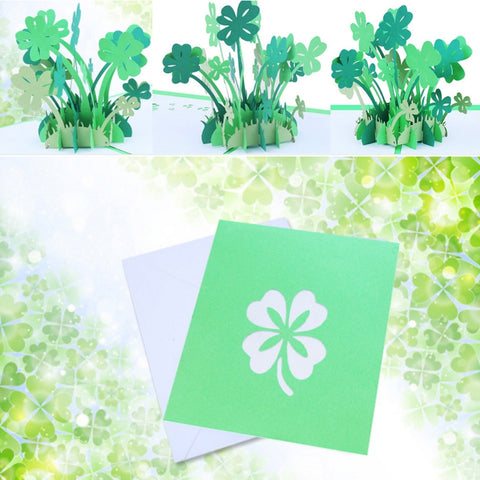3D Floral Pop Up Card and Envelope - Unique Pop Up Greeting Cards for Birthday, Christmas, New Year, Anniversary, Valentine, Wedding, Graduation, Thank You. Four-leaf clover