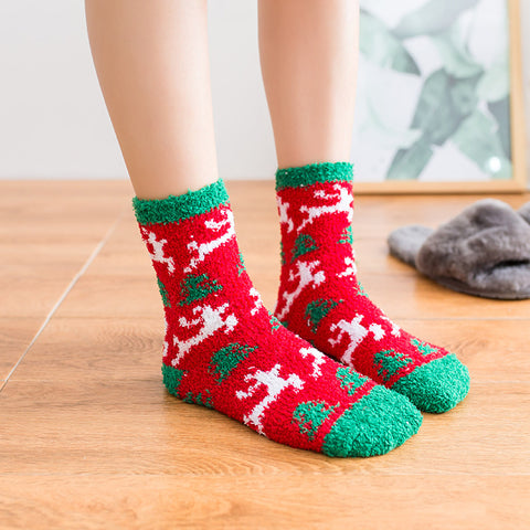 Winter Socks for Women - Soft Warm Fluffy Cozy - Colorful Reindeer Snowman Socks - [6 Pairs]