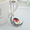 Image of Galaxy & Crescent Cosmic Moon Pendant Necklace - Colorful Glass - 17.5''