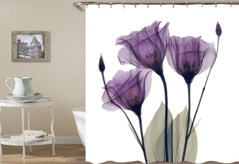 "Shower Curtain with Metal Hooks, 72"" x 72"" Thick Heavy Duty Fabric Bathroom Shower with Hooks No Chemical Odor Rust-Resistant - Purple Flower"