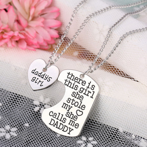 Daddy's Girl Heart Pendant Necklace - Father Daughter Necklace Set