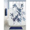 "Image of Shower Curtain with Metal Hooks, 72"" x 72"" Thick Heavy Duty Fabric Bathroom Shower with Hooks No Chemical Odor Rust-Resistant - Blue Leaves"