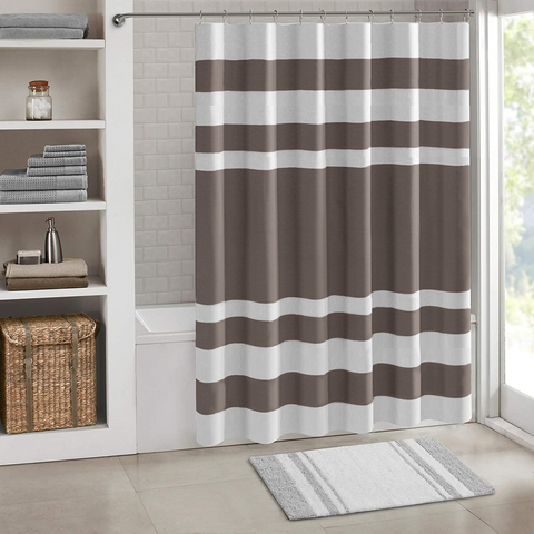 "Shower Curtain with Metal Hooks, 72"" x 72"" Thick Heavy Duty Fabric Bathroom Shower with Hooks No Chemical Odor Rust-Resistant - Gray Lines"