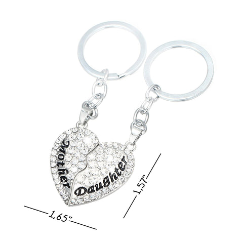 Luvalti Split Heart Keychain - Set of 2 Mother & Daughter Heart Keychain