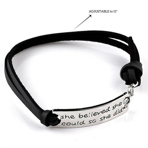 """She Believed She Could So She Did"" Pendant Leather Bracelet"