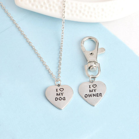 Love My Dog/Owner Necklace & Keychain Set - Necklace for Animal Lovers