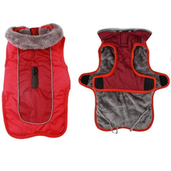 Fleece Warm Dog Jacket Coat Vest for Puppy Winter Cold - RED