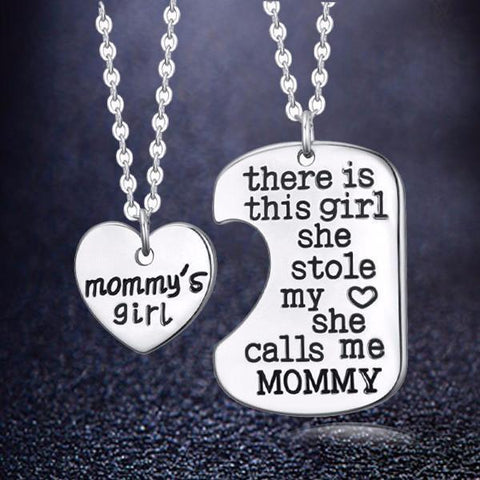 Luvalti Mommy's Girl Stainless Steel Heart Pendant Necklace - Mother Daughter Necklace Set - Best