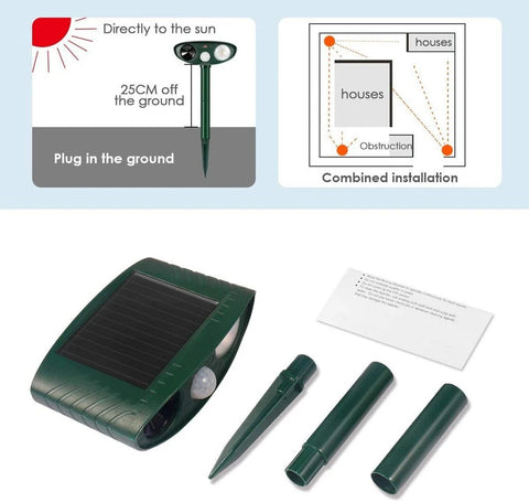Beetle Outdoor Ultrasonic Repeller PACK OF 4 - Solar Powered Ultrasonic Animal & Pest Repellant - Get Rid of Beetles in 48 Hours or It's FREE