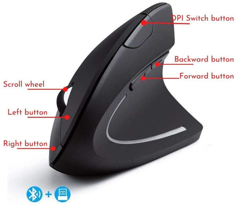 2.4G Wireless Vertical Optical Mouse with USB Receiver Ergonomic Comfortable Mice Design 800/1200 /1600 DPI, 6 Buttons - Black Right Hand
