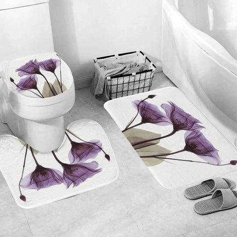 Bathroom Rug Set - 3-Piece Set - Purple Flower
