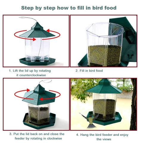 Hanging Bird Feeder for Wild Bird in Garden Yard Outside Decoration, Hexagon Shaped with Roof (Green)