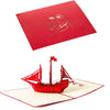 Image of 3D Boat Pop Up Card and Envelope - Sailing Boat Red