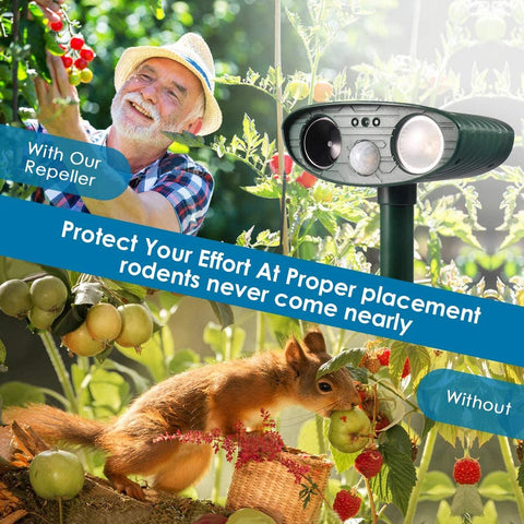 Ultrasonic Squirrel Repeller - PACK of 2 - Solar Powered - Get Rid of Squirrels in 48 Hours or It's FREE