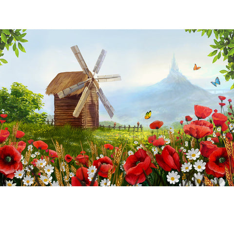 DIY Paint by Numbers Canvas Painting Kit for Kids & Adults - Windmill in The Village