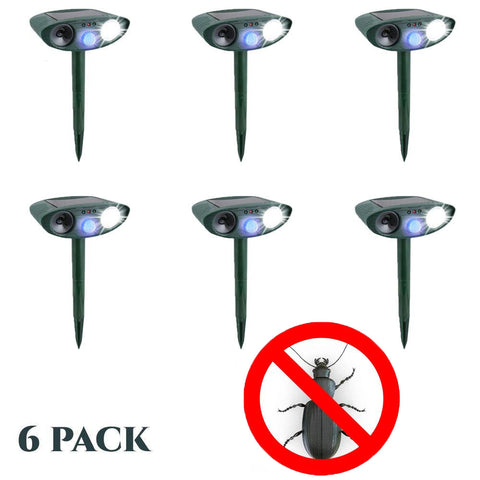 Beetle Outdoor Ultrasonic Repeller PACK OF 6 - Solar Powered Ultrasonic Animal & Pest Repellant - Get Rid of Beetles in 48 Hours or It's FREE