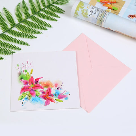 3D Love Pop Up Card and Envelope - Pink Flower Box