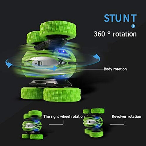 Remote Control Car, 2.4 GHZ High Speed Racing Car Double Sided 360° Rolling Rotating Rotation LED Headlights with Double Batteries, Green