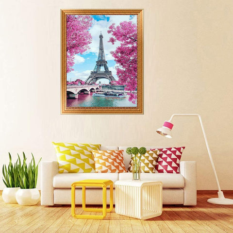 5D Diamond Painting by Number Kit Blooming Paris Eiffel Tower