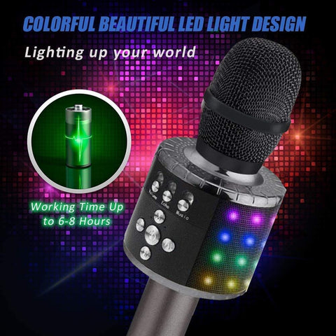 Bluetooth Karaoke Microphone - Wireless 4 in 1 - With LED Lights