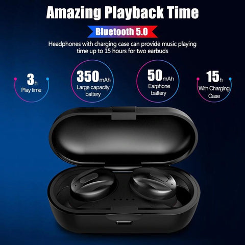 Bluetooth 5.0 Wireless Earbuds with Wireless Charging Case IPX5 Waterproof - Premium Sound - Cordless - Hands-Free Call Microphone for Sport Black