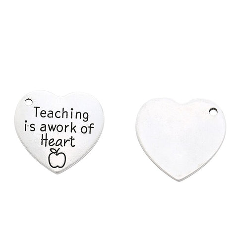 Teaching is a Work of Heart - Pendant Keychain - Teacher Appreciation Gift