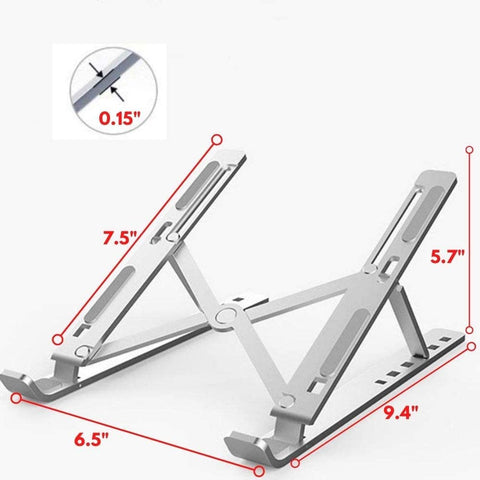 "Laptop Stand Holder - Aluminum 6-Angles Adjustable Ventilated Cooling - Mount for MacBook Pro Air, Lenovo, HP, Dell, 10-15.6"" Laptops - Silver"