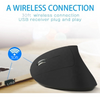 Image of 2.4G Wireless Vertical Optical Mouse with USB Receiver Ergonomic Comfortable Mice Design 800/1200 /1600 DPI, 6 Buttons - Black - Left Hand