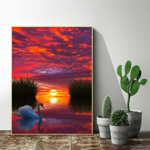 DIY Paint by Numbers Canvas Painting Kit for Kids & Adults - Red Sunset Swan