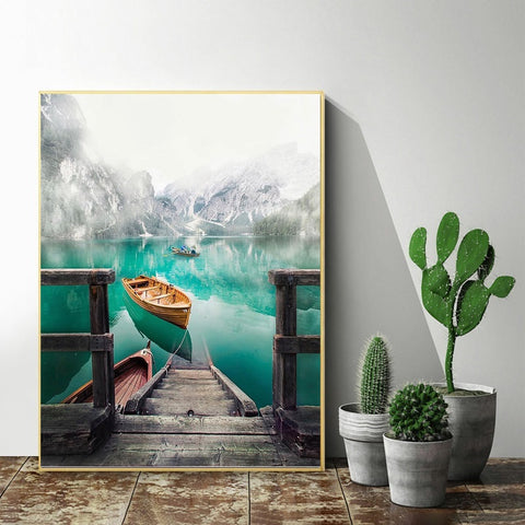 DIY Paint by Numbers Canvas Painting Kit - Fishing Boat in Lake