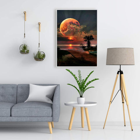 5D Diamond Painting by Number Kit Sunset Moon