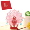Image of 3D Ferris wheel Pop Up Card and Envelope - Pink Ferris wheel
