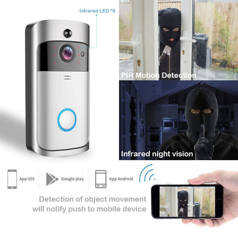 Smart Wireless WiFi Phone Door Bell Camera - Smart Doorbell Camera - Motion Detector, Night Vision