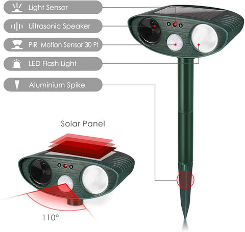 Cat Outdoor Ultrasonic Repeller - PACK of 2 - Solar Powered Ultrasonic Animal & Pest Repellant