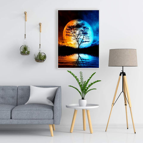 5D Diamond Painting by Number Kit Big Moon Tree