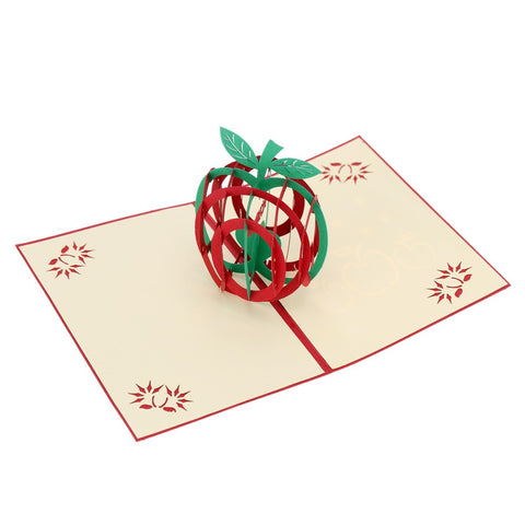 3D Apple Pop Up Card and Envelope - Red Apple
