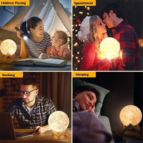 3D Print Moon Lamp Light with Stand - 16 Colors LED USB Rechargeable