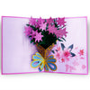 Image of 3D Floral Pop Up Card and Envelope - Valentine's Day Pink Flower Bouquet Card