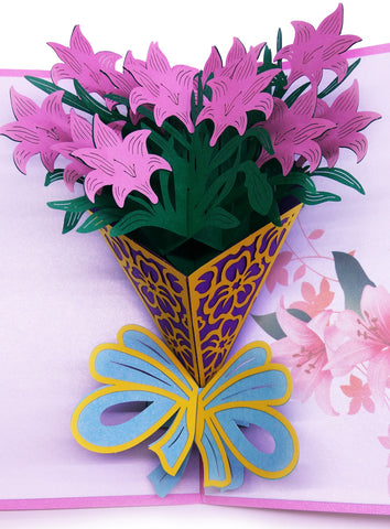 3D Floral Pop Up Card and Envelope - Valentine's Day Pink Flower Bouquet Card